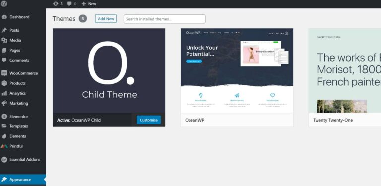 WordPress Dashboard 2021